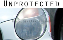 Don't let your unprotected headlights look like this!