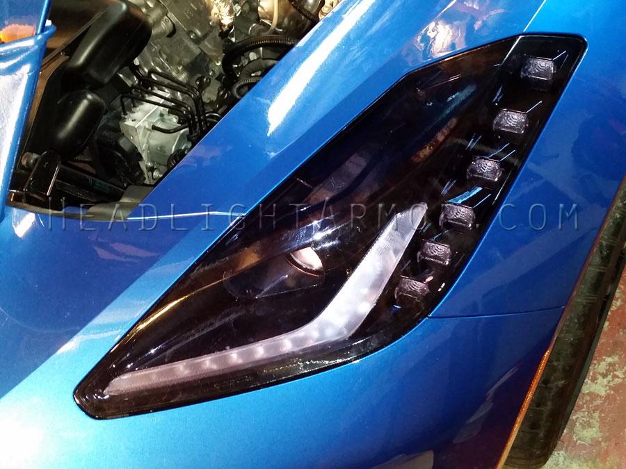 chevrolet corvette hid blue headlight protection kit - Corvette Stingray Light Blue