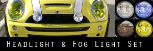 02-06 Mini Cooper / S w/headlight washers Headlight and Fog Light Protection Kit